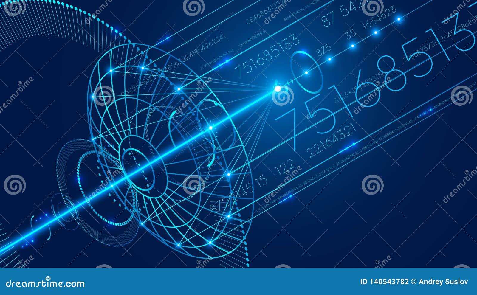 Antena parabólica abstrata de uma comunicação Fundo de uma comunicação digital da tecnologia do sumário