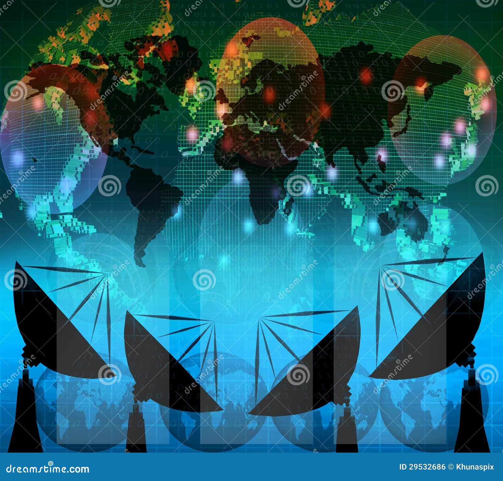 Antena parabólica e dados digitais na cor azul