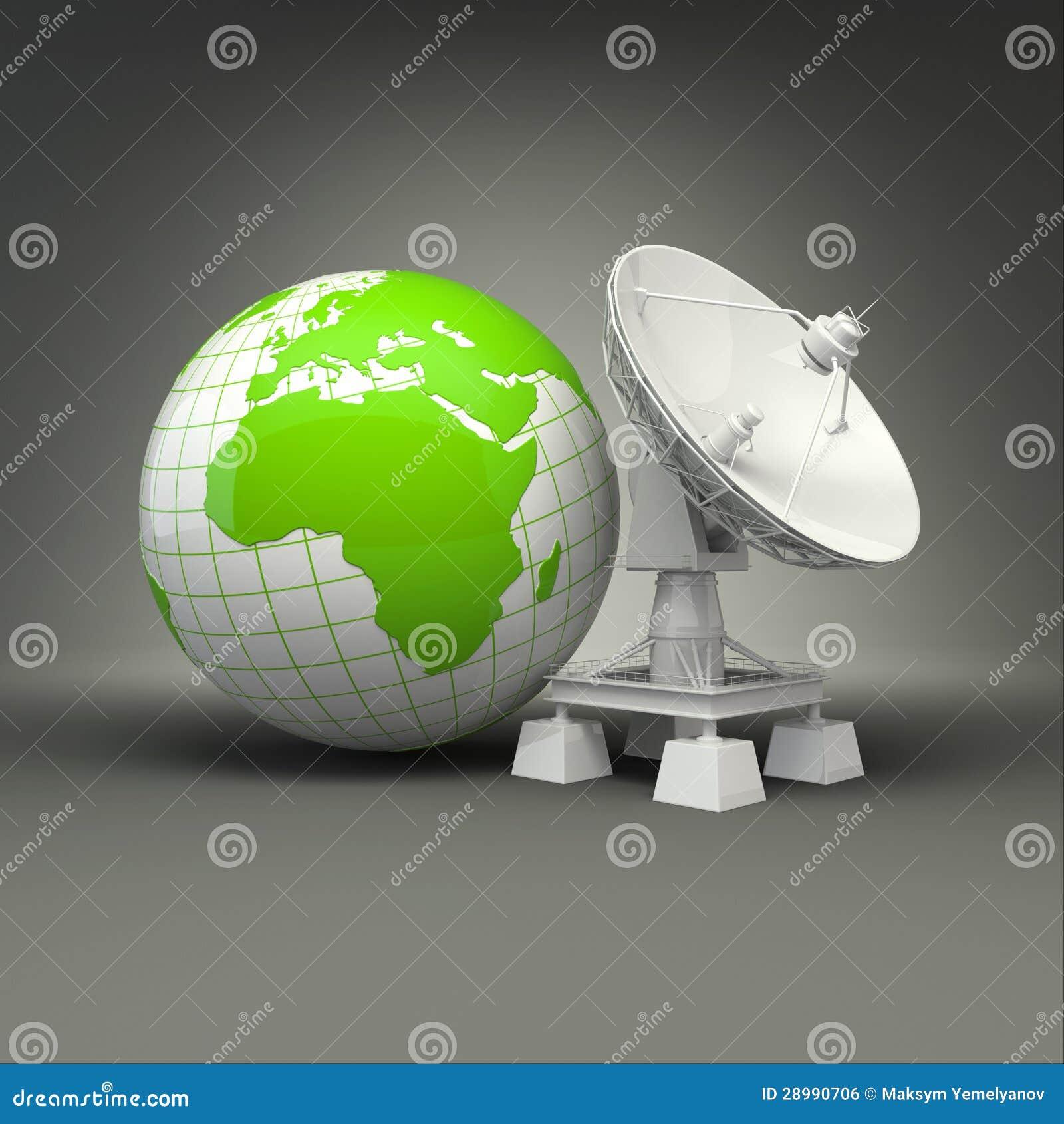 Antena satelitarna i ziemia na popielatym tle