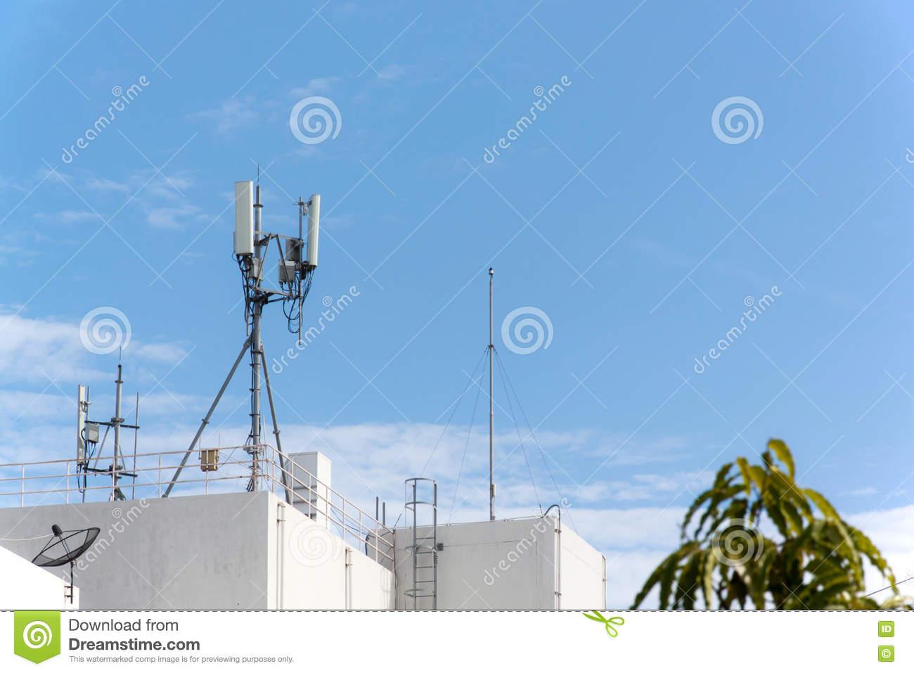 Antenna Mobile Communication Stock Image - Image of cable, wireless