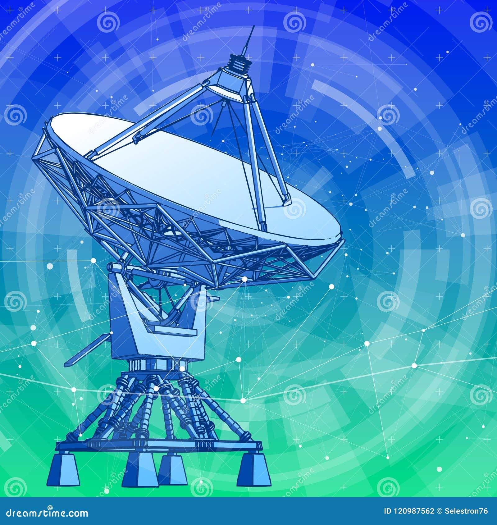 Antenne d antennes paraboliques - radar Doppler et fond bleu de technologie