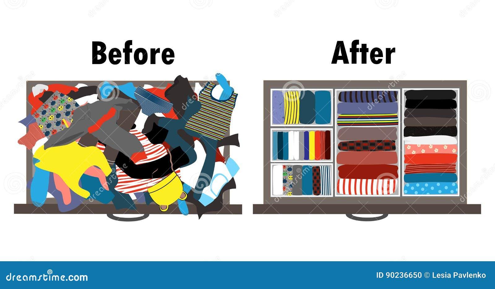 Antes e depois de ordenar o vestuário das crianças na gaveta Roupa desarrumado e roupa agradavelmente arranjada nas pilhas