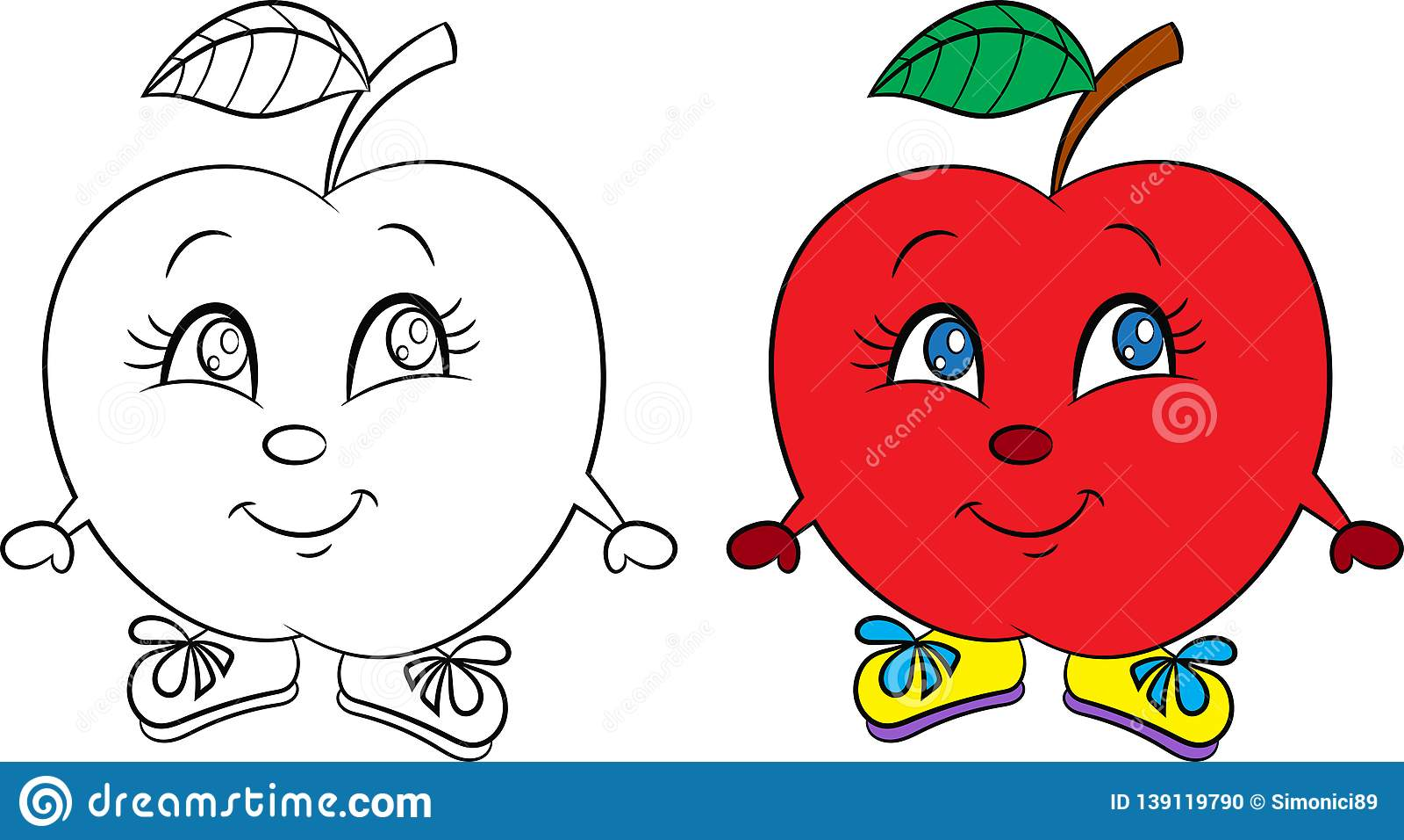 Antes Y Después Del Dibujo Del Kawaii De Una Pequeña Manzana