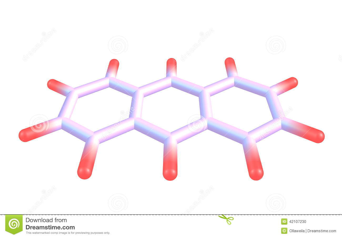 Anthracene Molecular Structure On White Background Stock ...