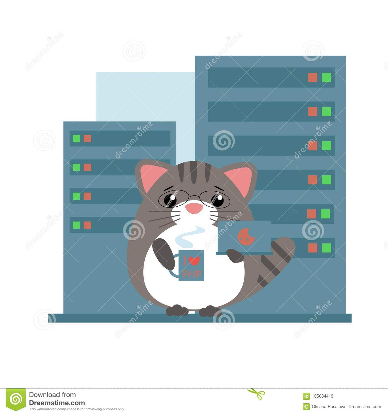 anthropomorphic gray cat programmer standing stock vector