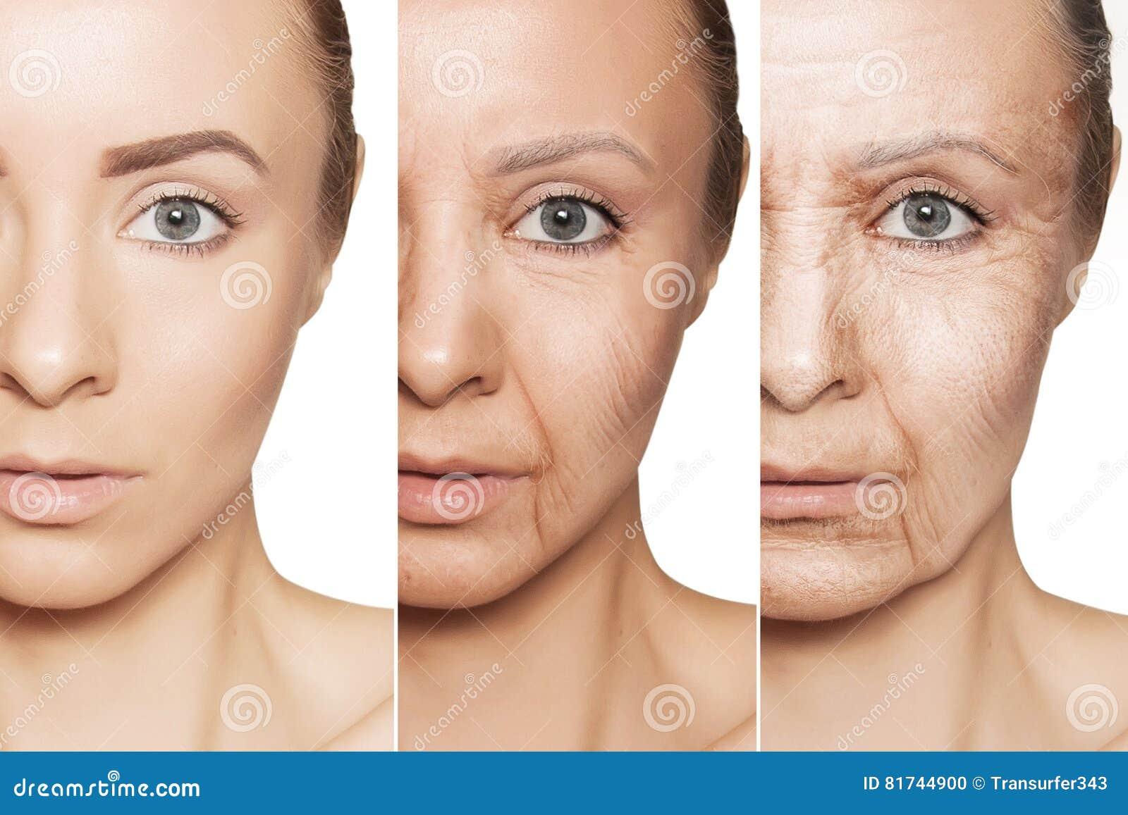 Anti--åldras tillvägagångssätt på caucasian kvinnaframsida