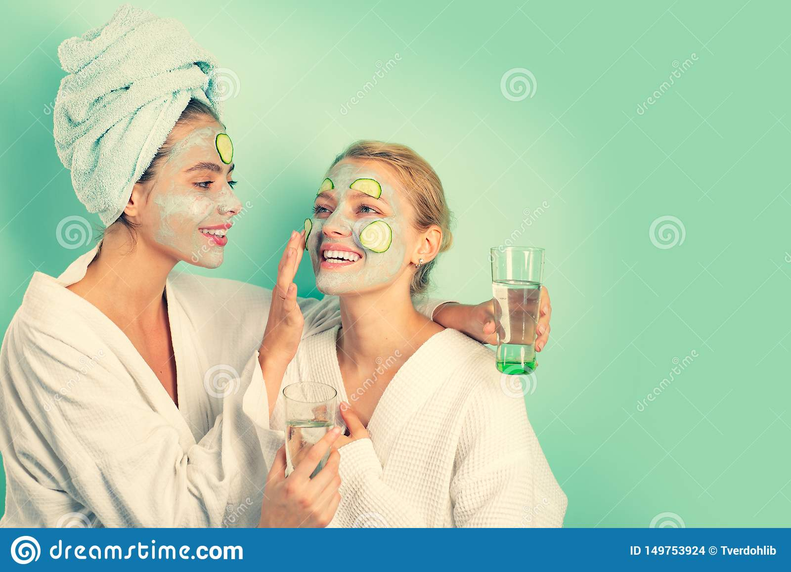 Anti age mask. Stay beautiful. Skin care for all ages. Women having fun cucumber skin mask. Relax concept. Beauty begins