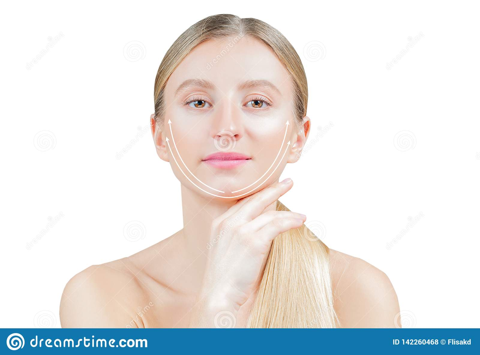 Anti Aging Treatment And Face Lifting Beautiful Woman With
