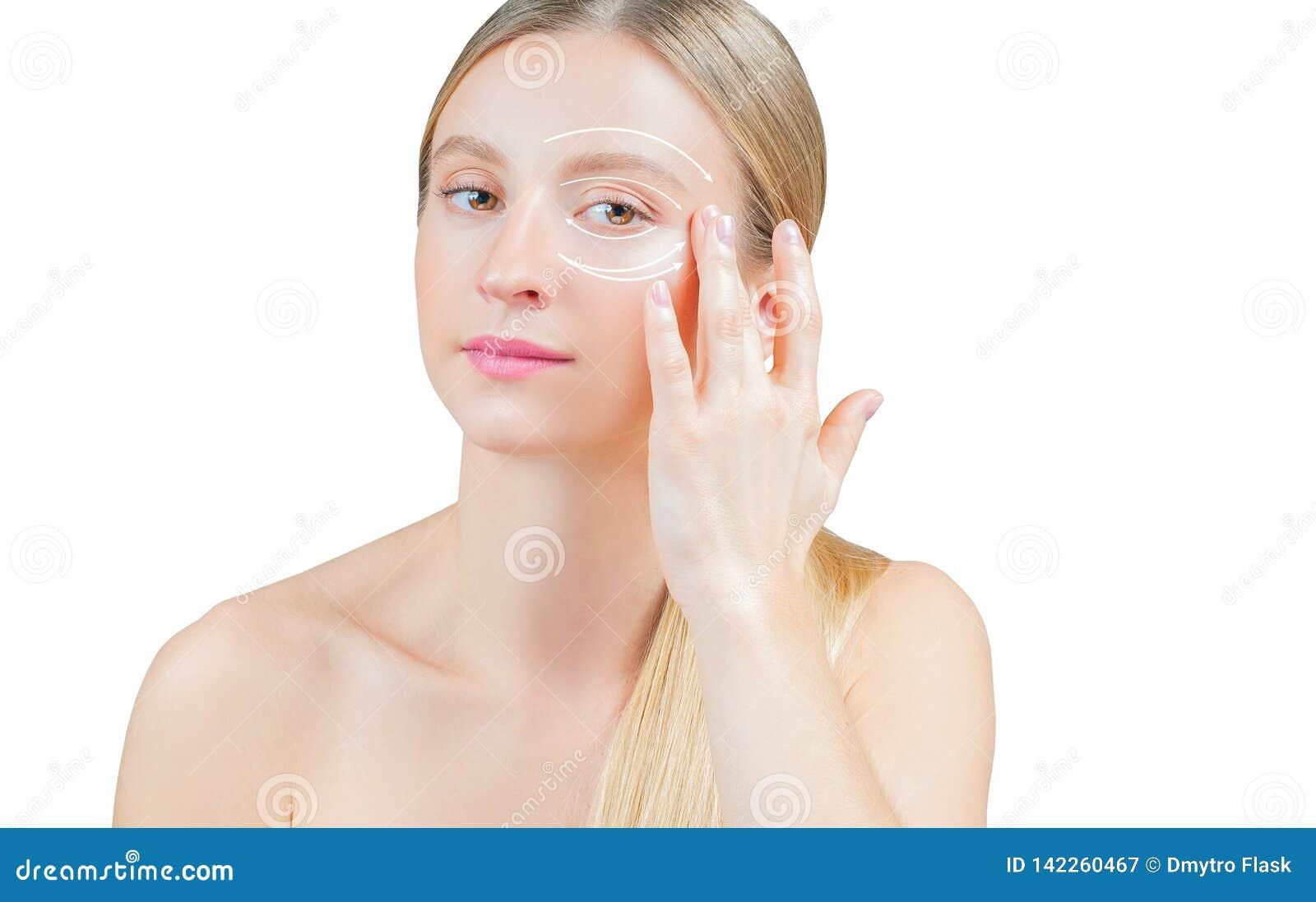 Anti-Alternbehandlung und Face lifting, Schönheit mit perfekter Haut mit oder Pfeilen um Augen