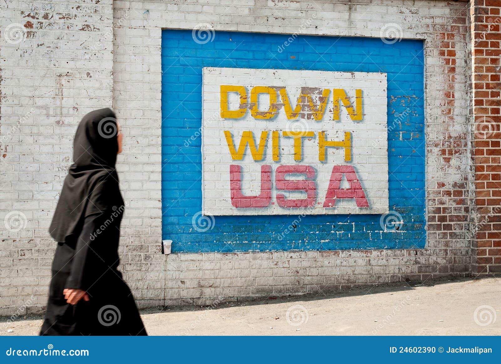 Anti Amerikaans muurschilderingbericht in Teheran Iran