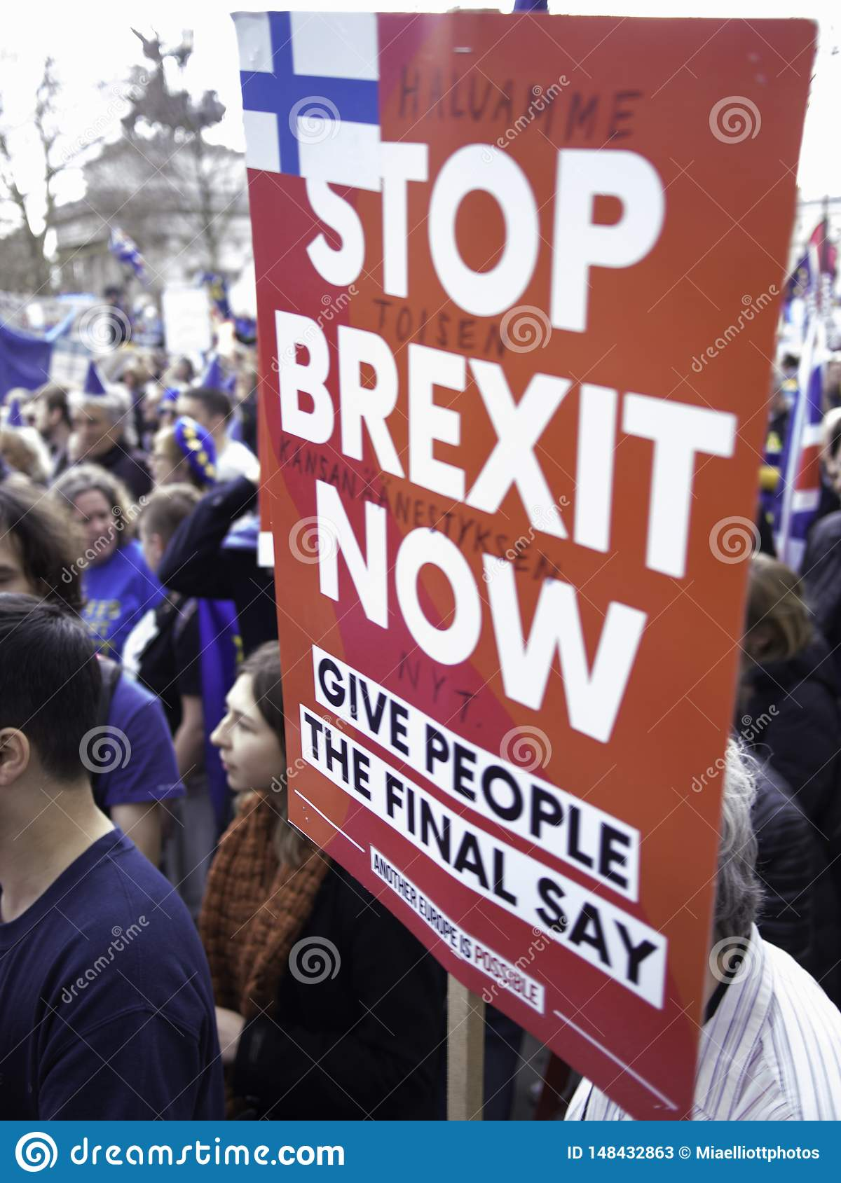 Anti Brexit protester holding a placard. London, March 2019