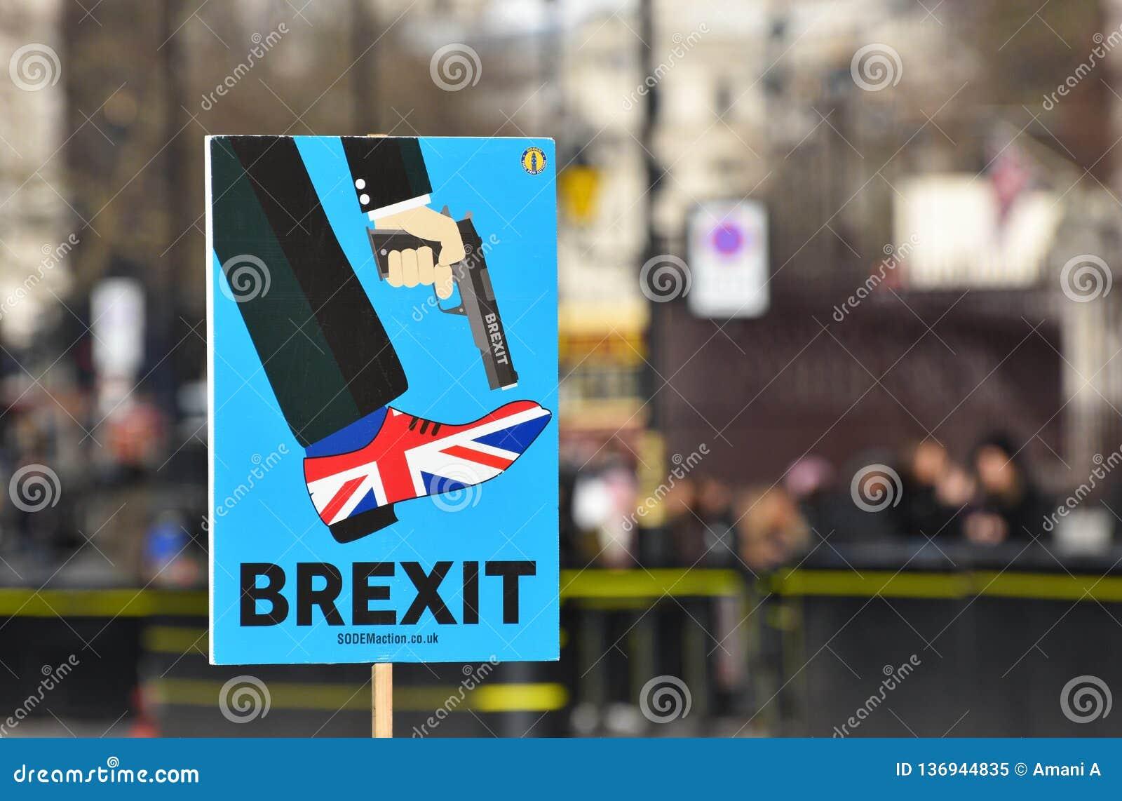 Anti-Brexit unterzeichnen herein London, Großbritannien im Januar 2019