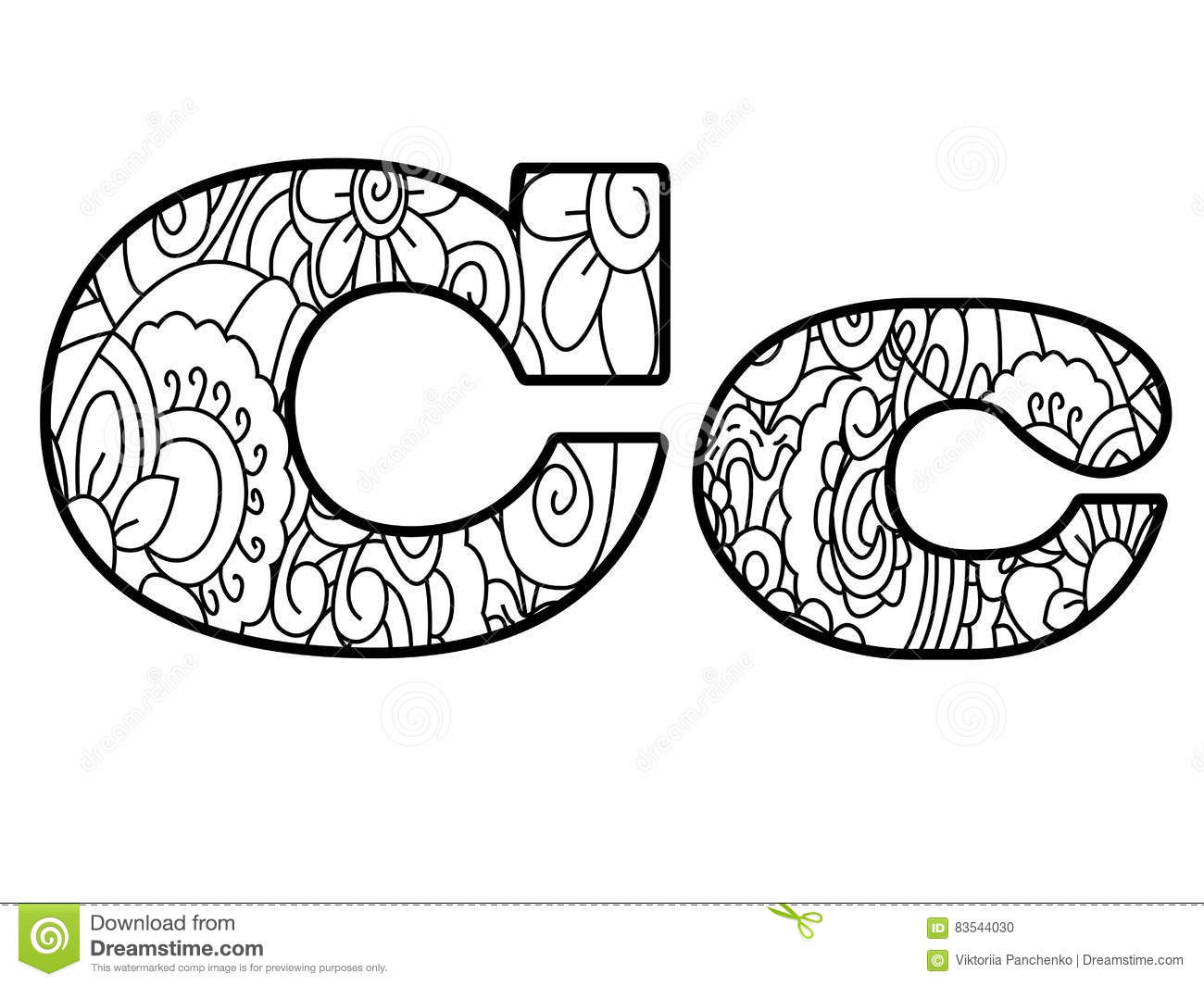 Anti Coloring Book Alphabet, The Letter C Vector Illustration Stock ...
