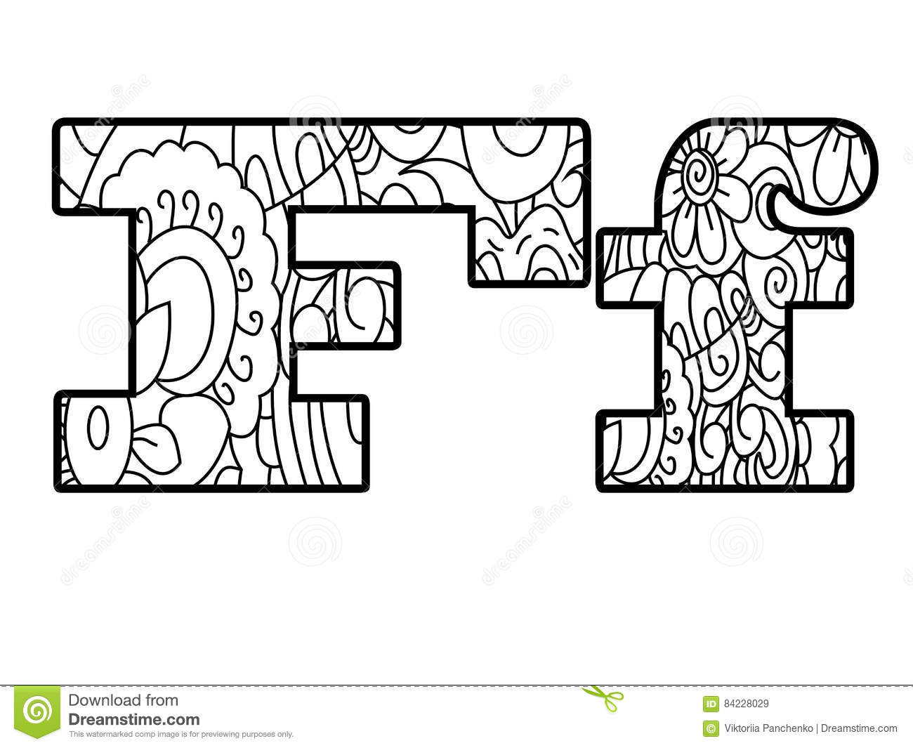 Anti Coloring Book Alphabet The Letter F Vector Illustration Stock Vector