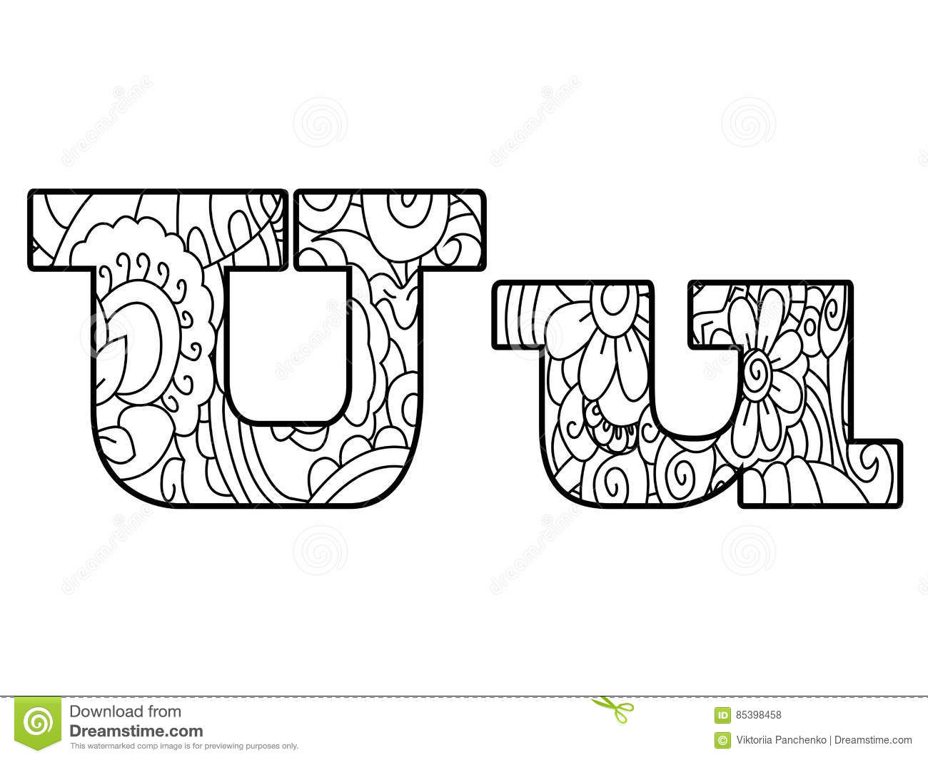 Anti Coloring Book Alphabet The Letter U Vector Illustration