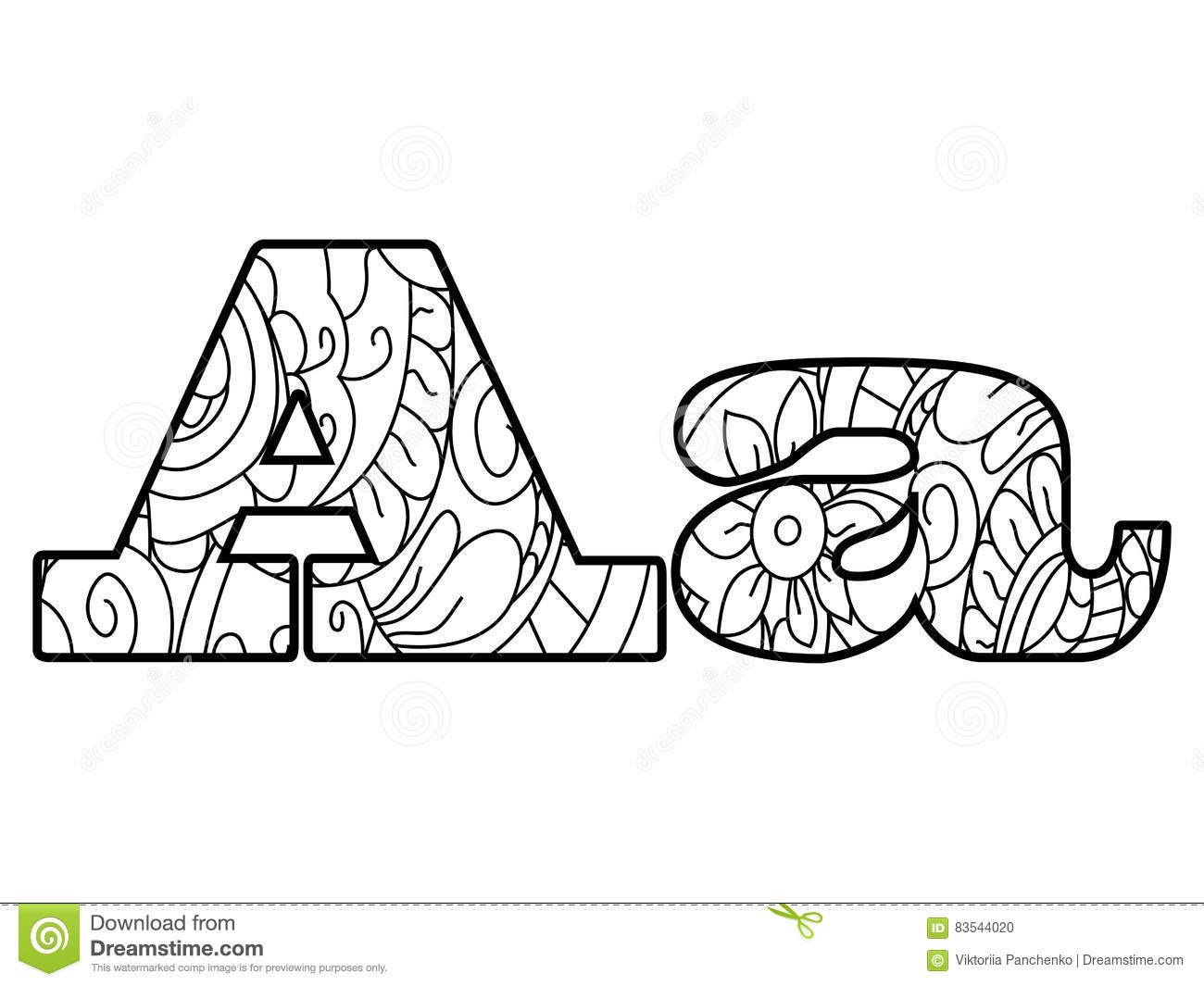 Anti Coloring Book Alphabet, The Letter A Vector