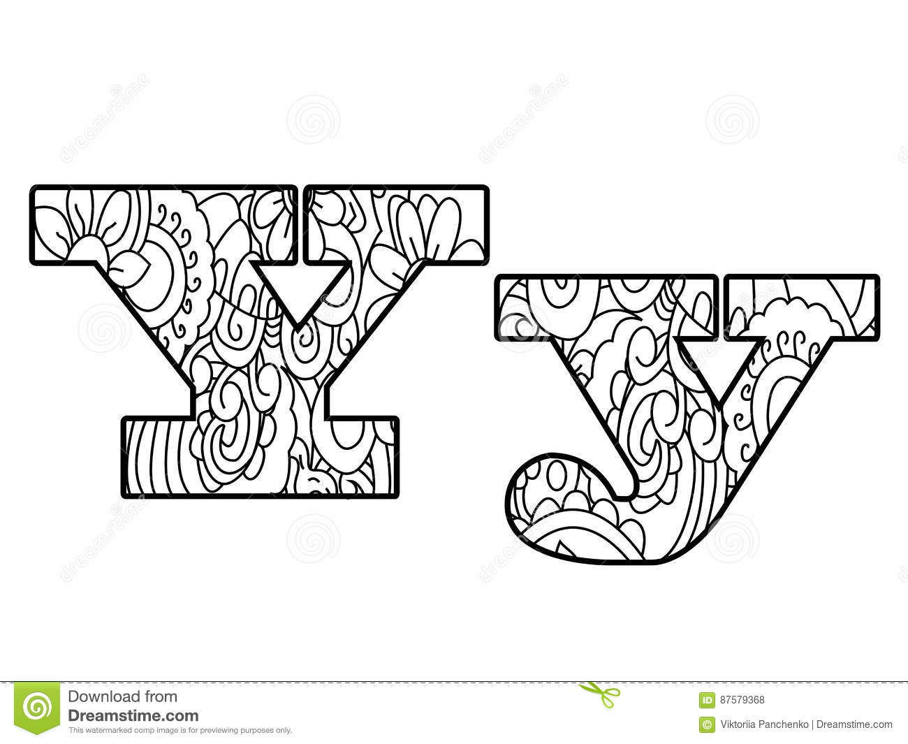 Anti Coloring Book Alphabet, The Letter Y Vector Illustration Stock ...