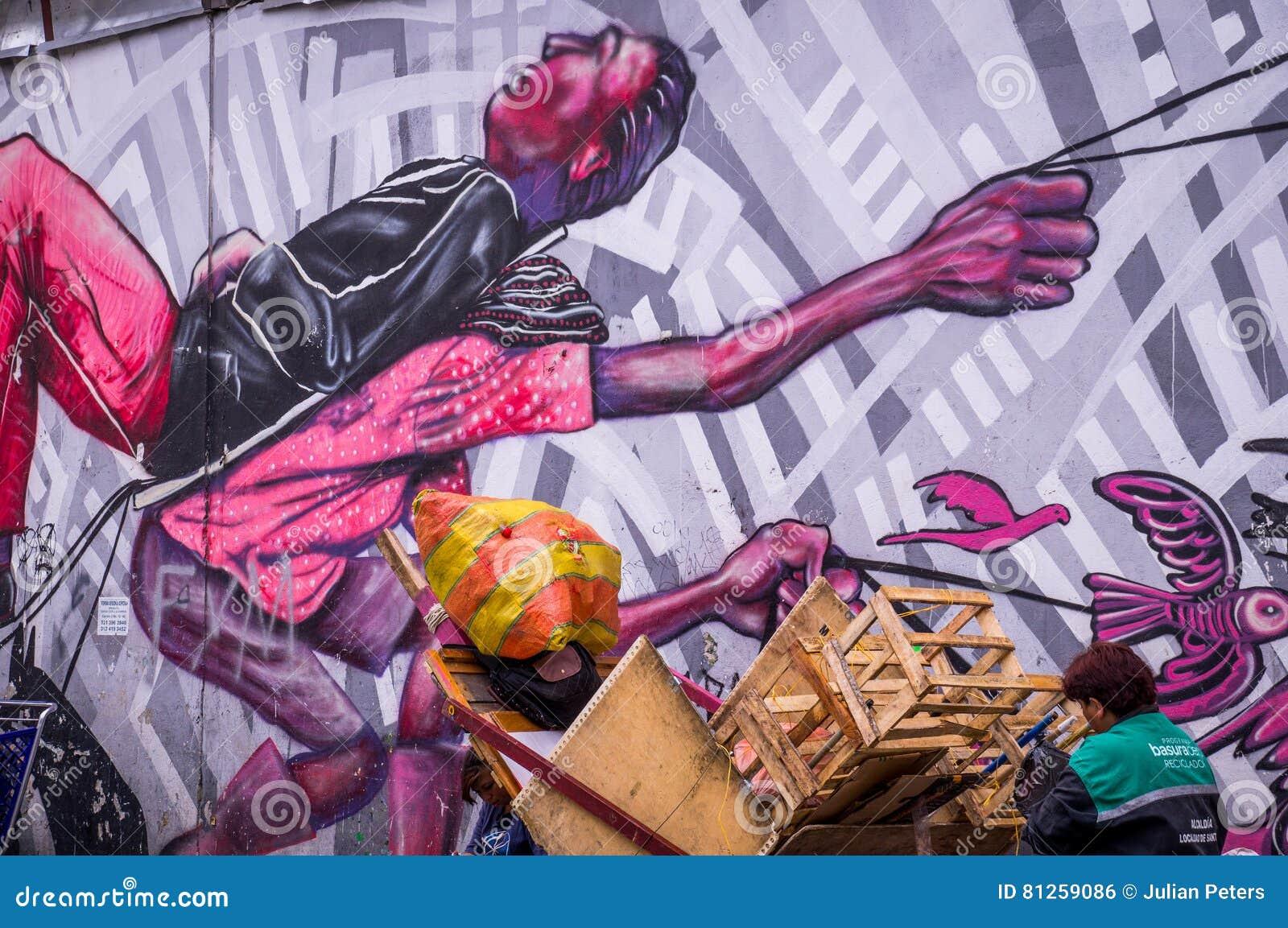 Anti-kapitalistische Straßen-Kunst in Bogota