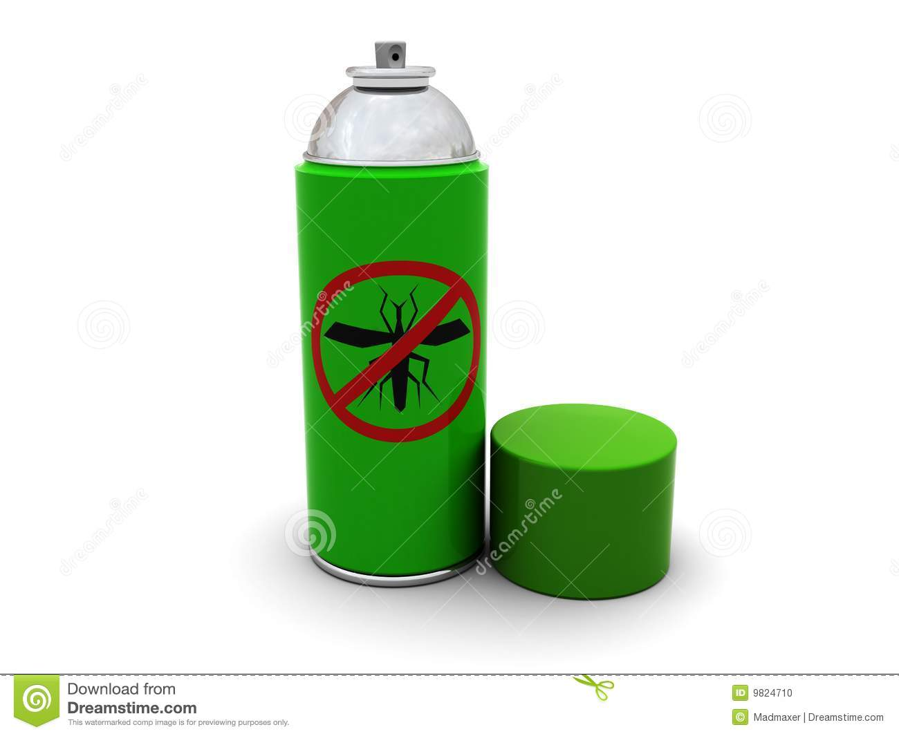3d illustration of anti-mosquito spray with cap, over white background ...