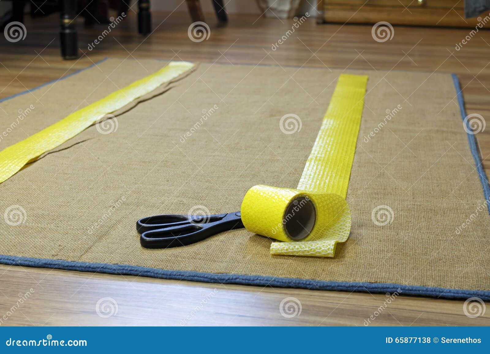 Anti Slip Rug Tape And Scissors Stock Photo Image 65877138