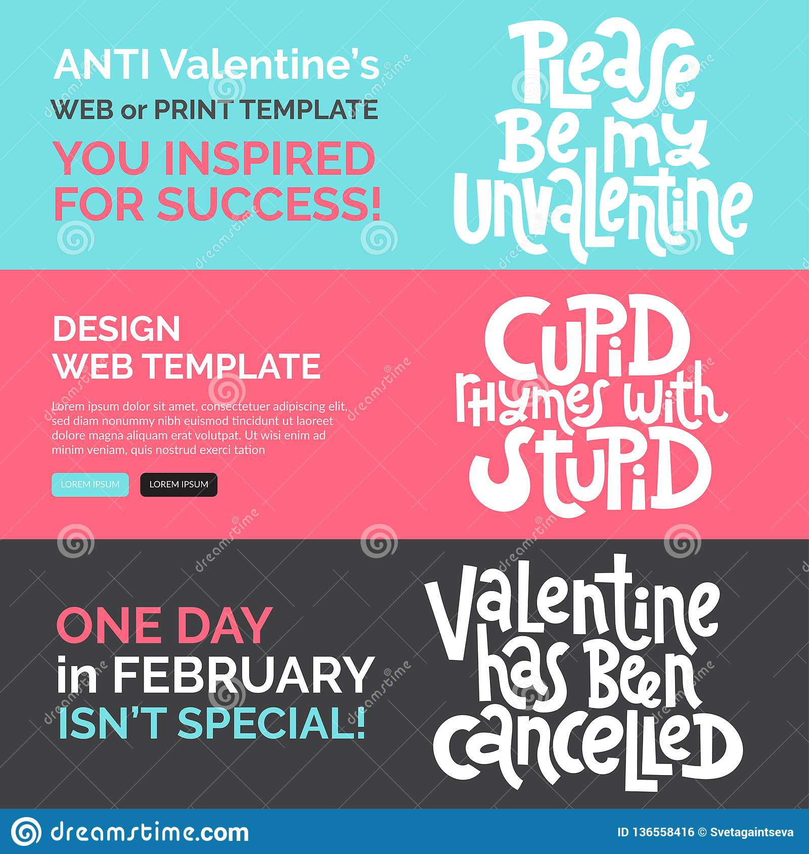anti valtntine quote web print banners design template hand drawn vector lettering anti saint valentine day singles day