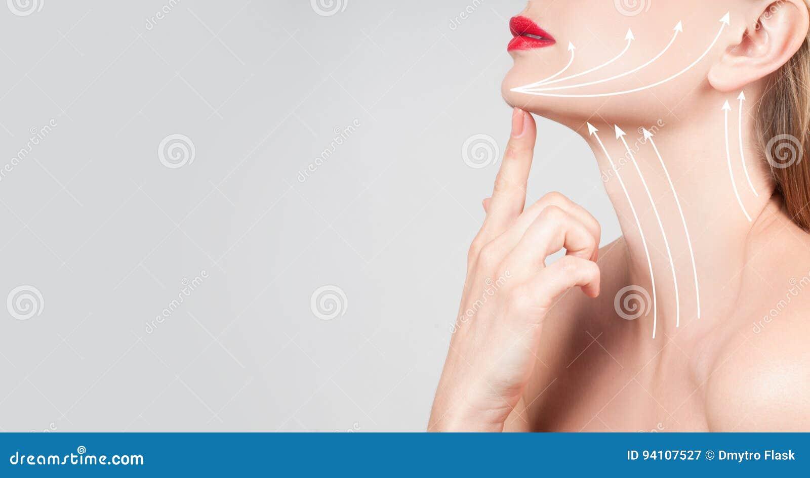 Anti-veroudert behandeling Mooie vrouwenhals met massagelijnen