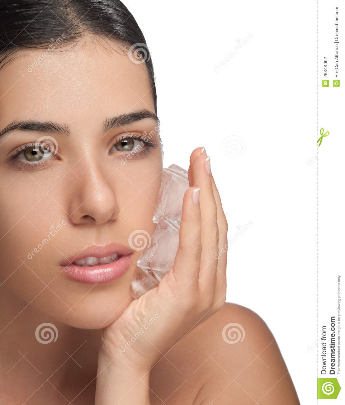 Aging: Antiaging Ice On Girl Face Stock Photo. Image Of Aching
