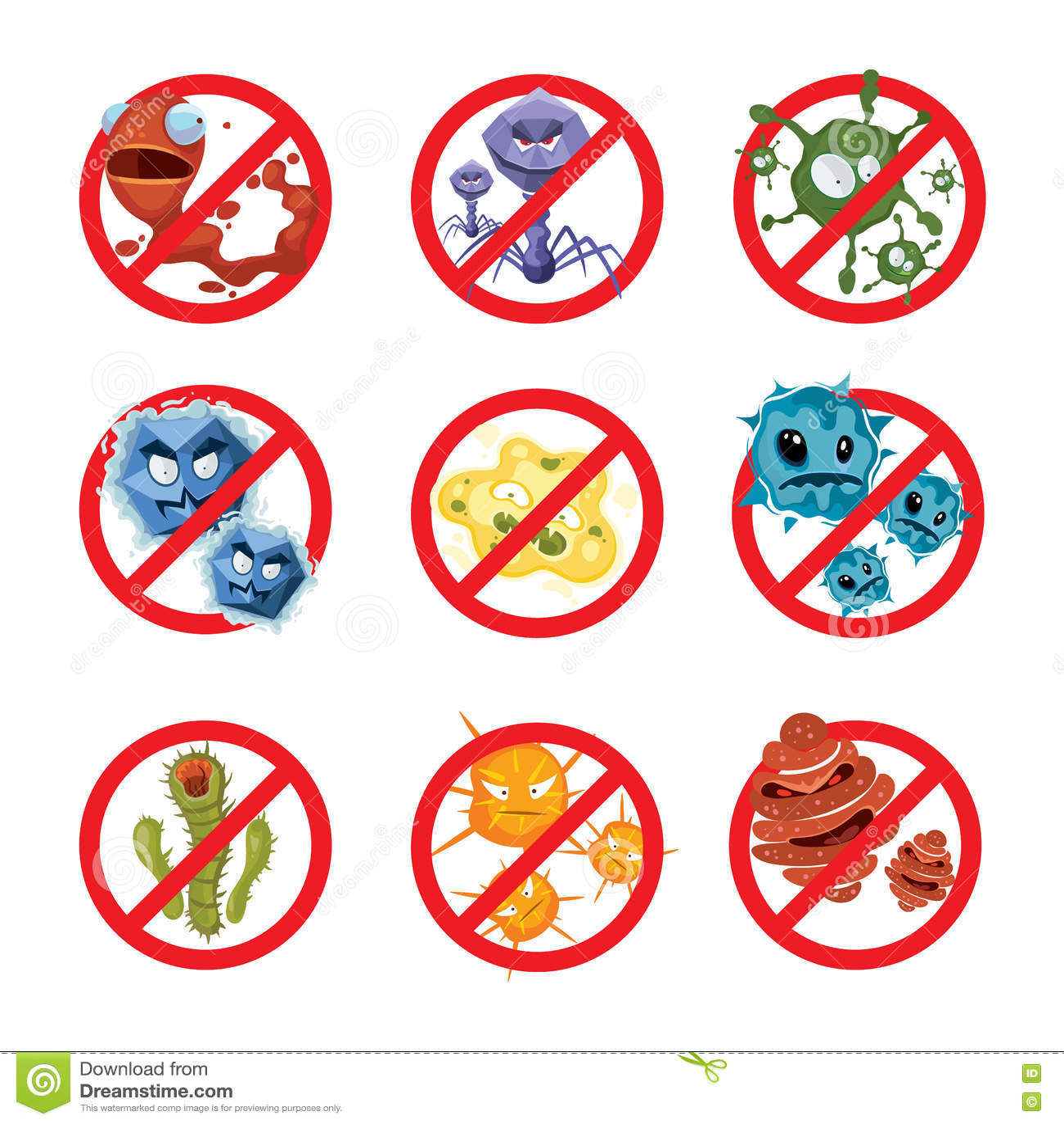 Antibacteriën en geplaatste kiemen vectortekens