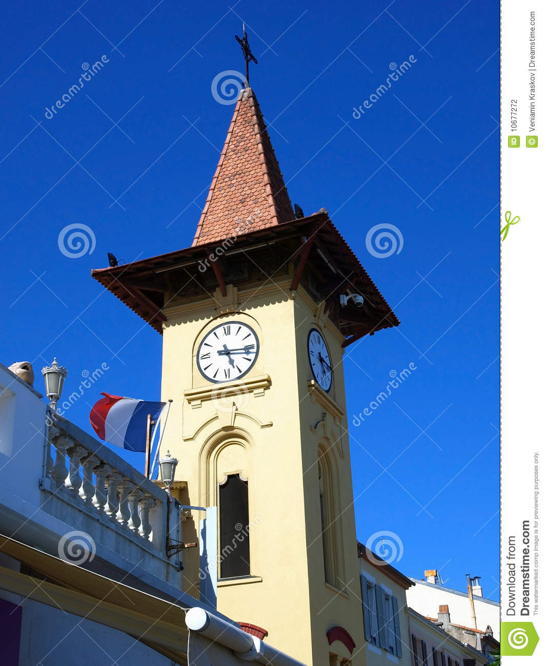 antibes clock tower stock photography image 10677272. Black Bedroom Furniture Sets. Home Design Ideas