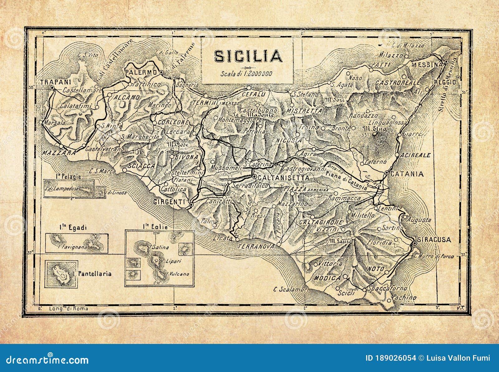 Cartina Della Sicilia Con Le Isole.Antica Mappa Dell Isola Di Sicilia Illustrazione Di Stock Illustrazione Di Geografico Storia 189026054