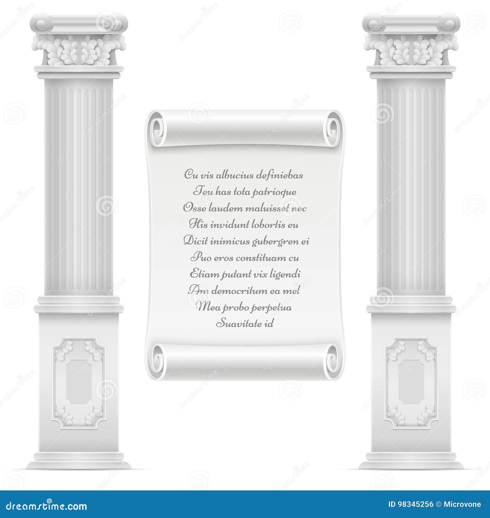 Tekst Op Muur.Antiek Roman Architectuurontwerp Met Marmeren Steen Colomns En Tekst