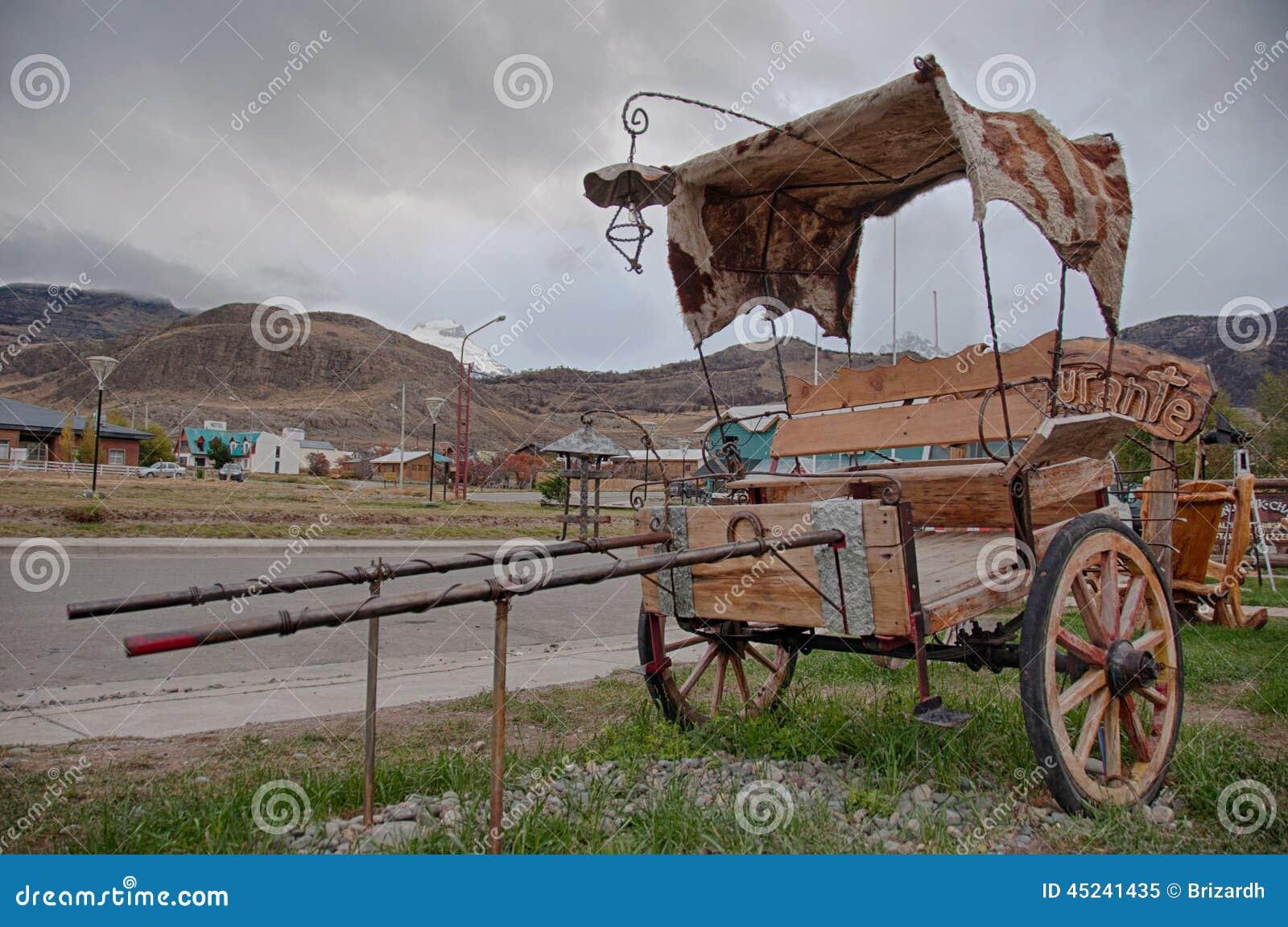 Antiek vervoer in Gr Chalten dichtbij Fitz Roy, Argentinië