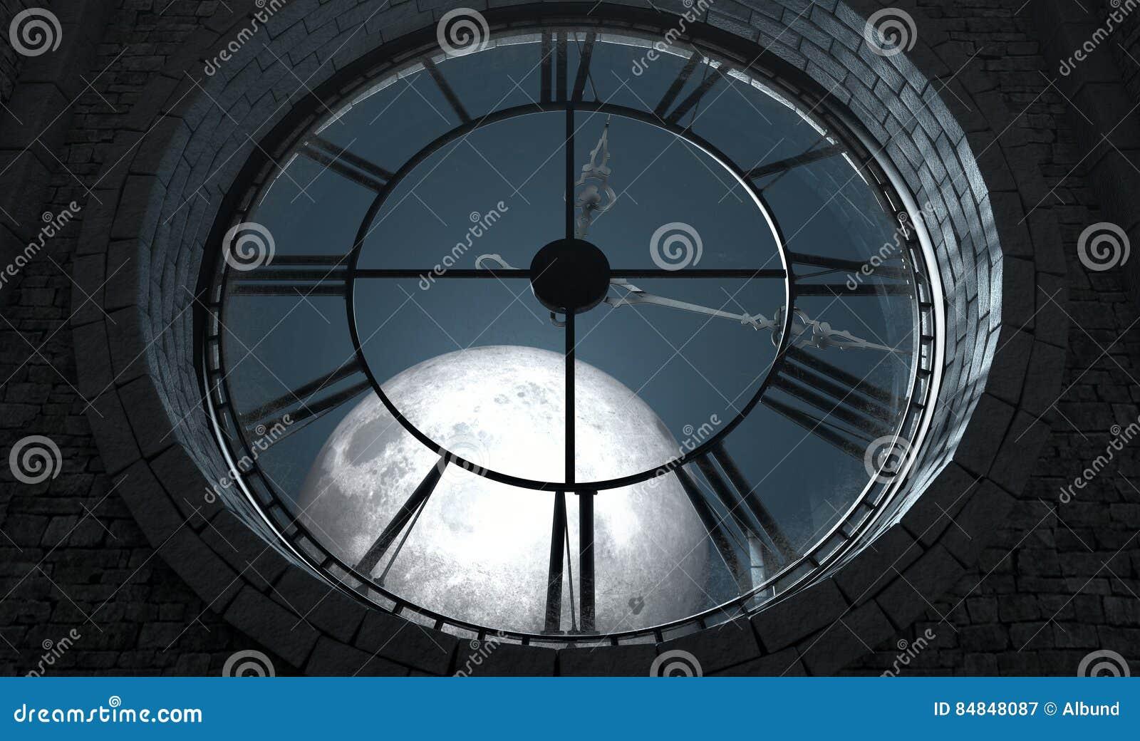 3d geeft van het binnenland van de zolderruimte achter een antieke die torenklok backlit terug en door een volle maan bij nacht wordt verlicht