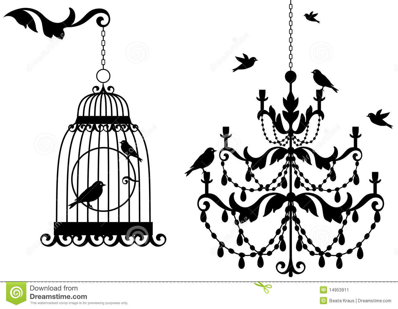 antieke birdcage en kroonluchter vector illustratie. Black Bedroom Furniture Sets. Home Design Ideas