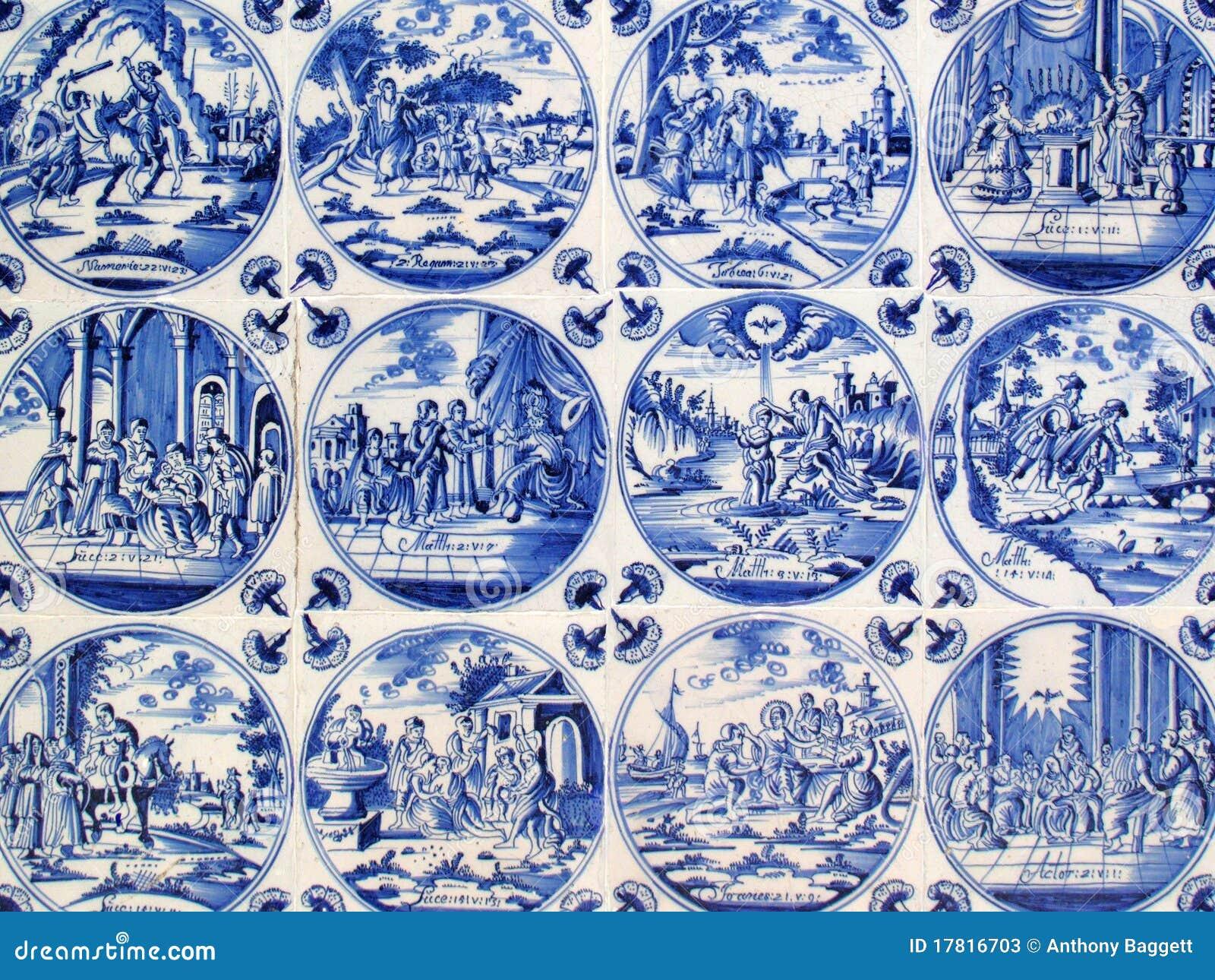 Antieke De Muurtegels Van Delft Stock Afbeelding
