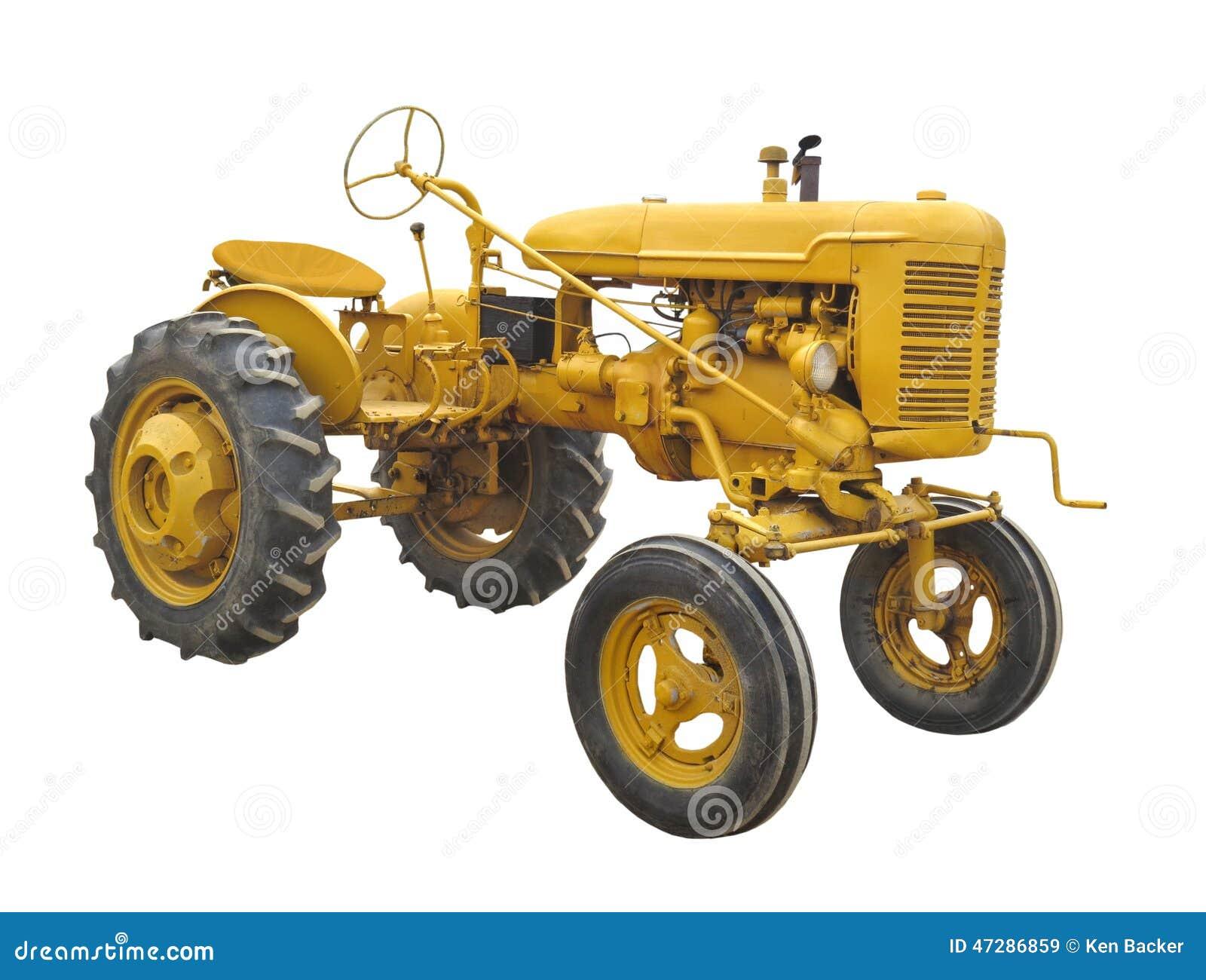 Antieke gele geïsoleerde tractor