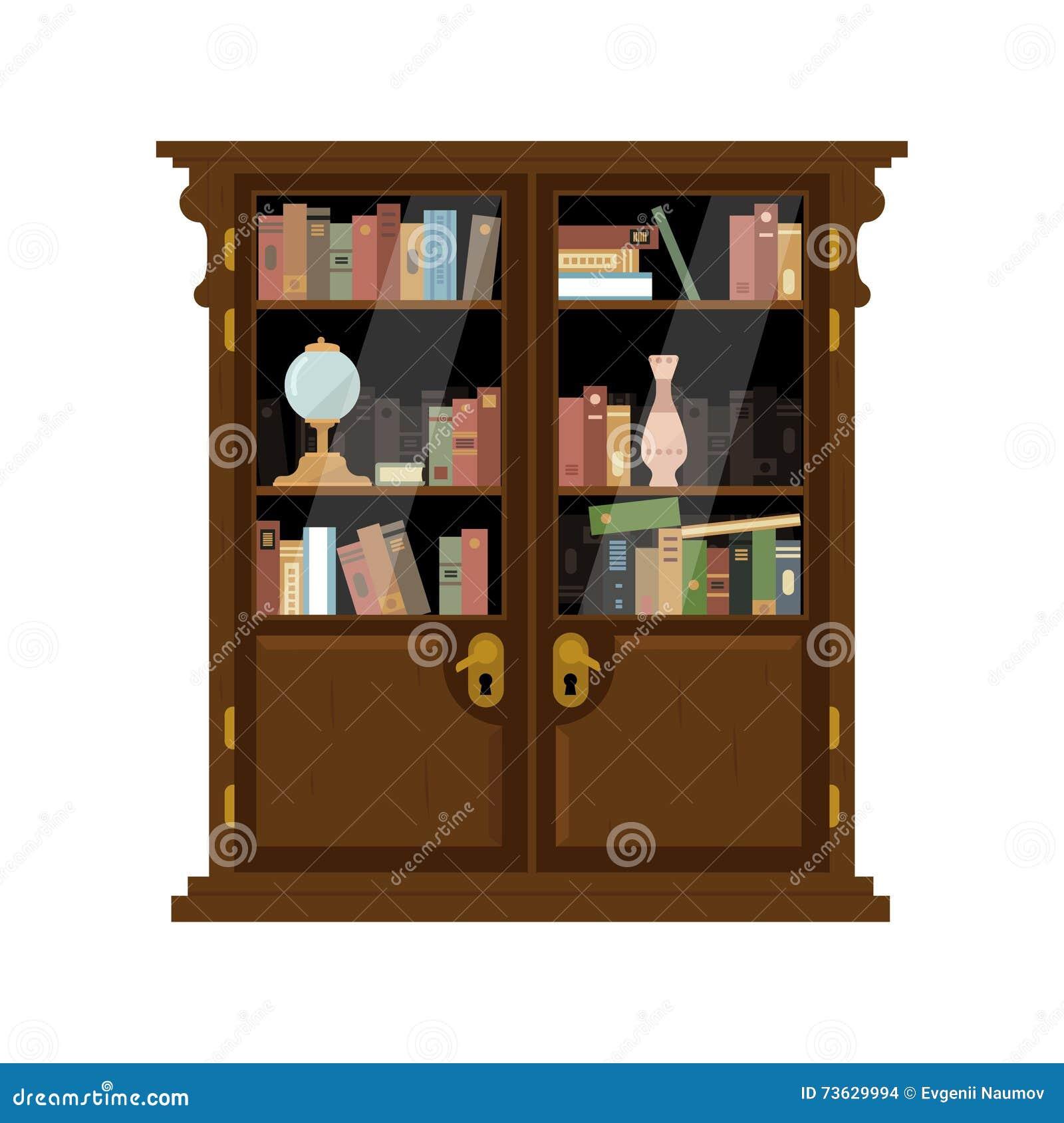 Antieke Houten Kast Met Boeken Vector Illustratie