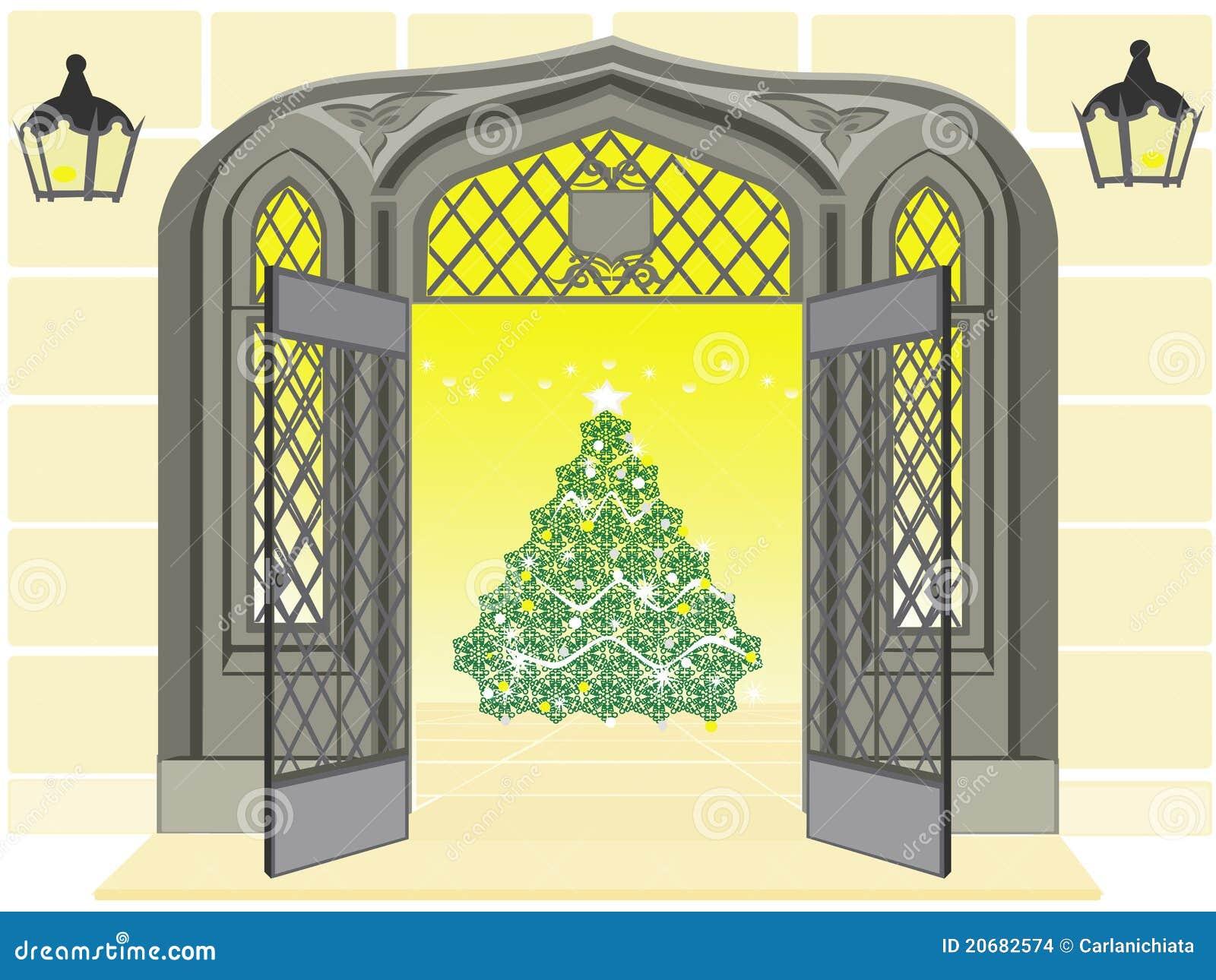 Antieke open deur tonend een kerstboom stock afbeeldingen afbeelding 20682574 for Decor ingang