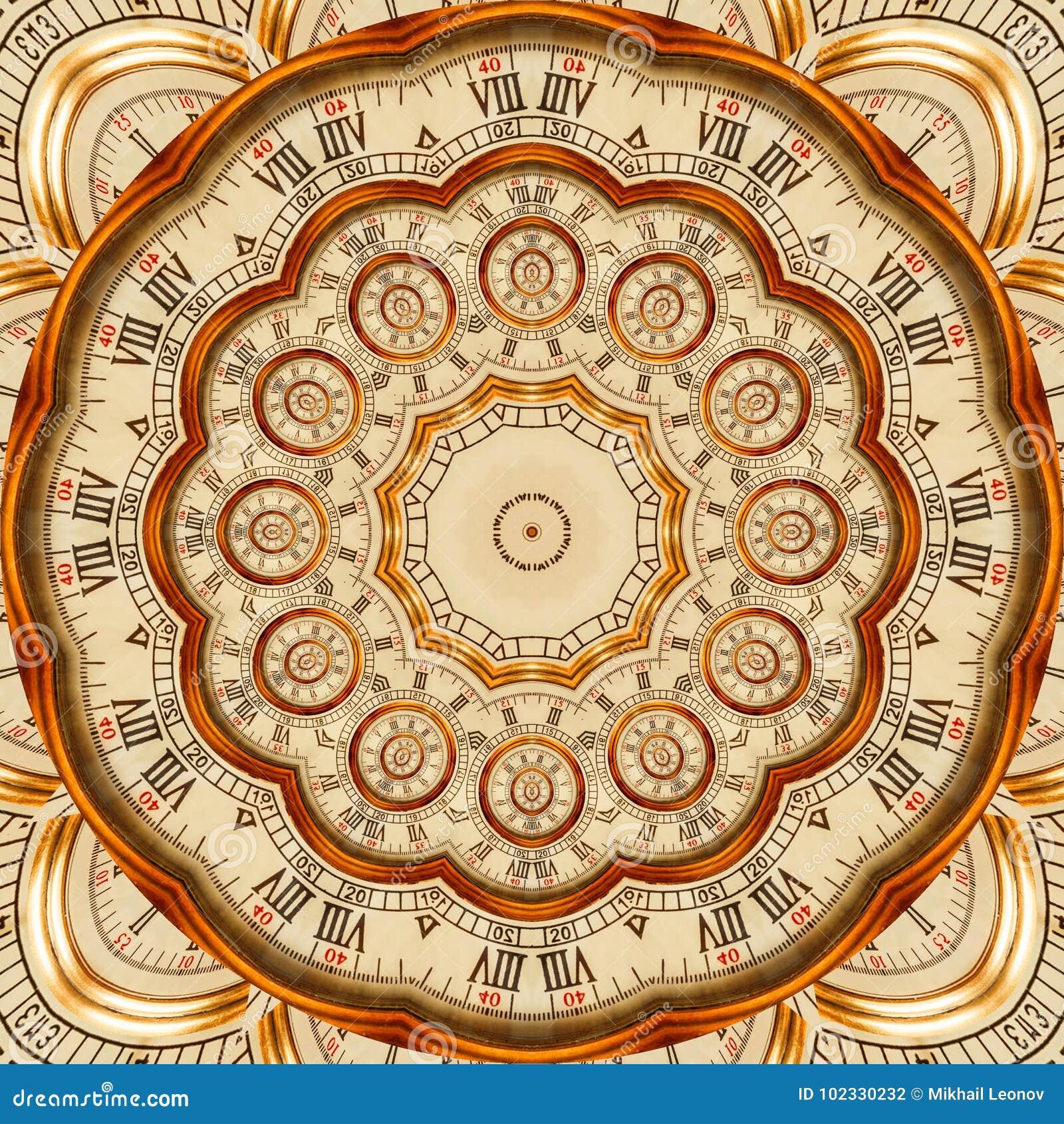 Antieke oude gouden het patroon abstracte achtergrond van de klokcaleidoscoop Het abstracte surreal geklets van het de caleidosco
