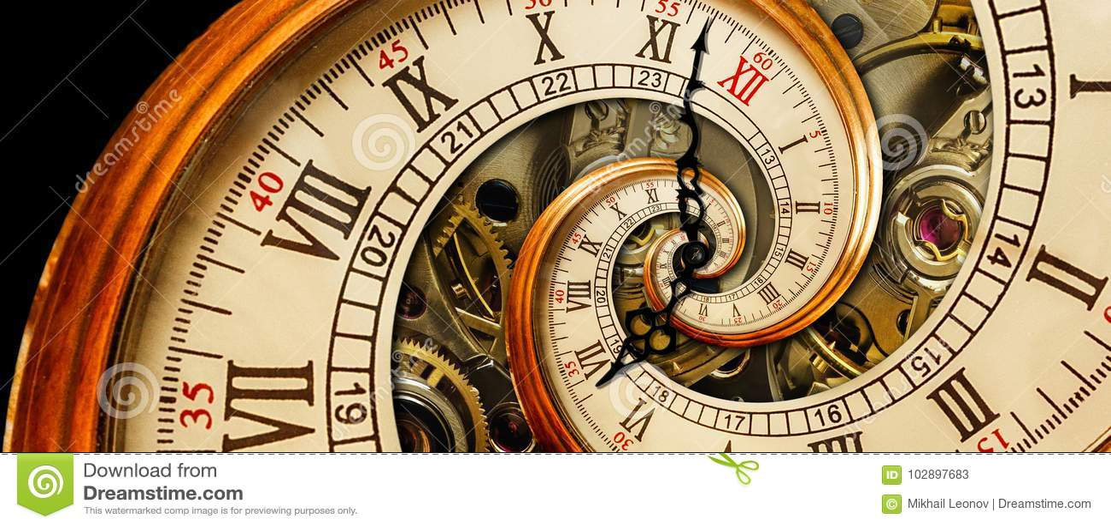 Antieke oude klok abstracte fractal spiraal Fractal van de het mechanisme ongebruikelijke abstracte textuur van de horloge klassi