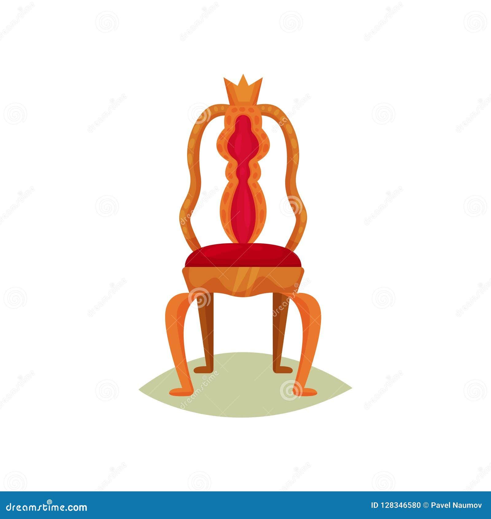 Antieke stoel met rode fluweelversiering en kroon Gouden troon van koning Luxe koninklijk meubilair Museumpunt Vlakke vector