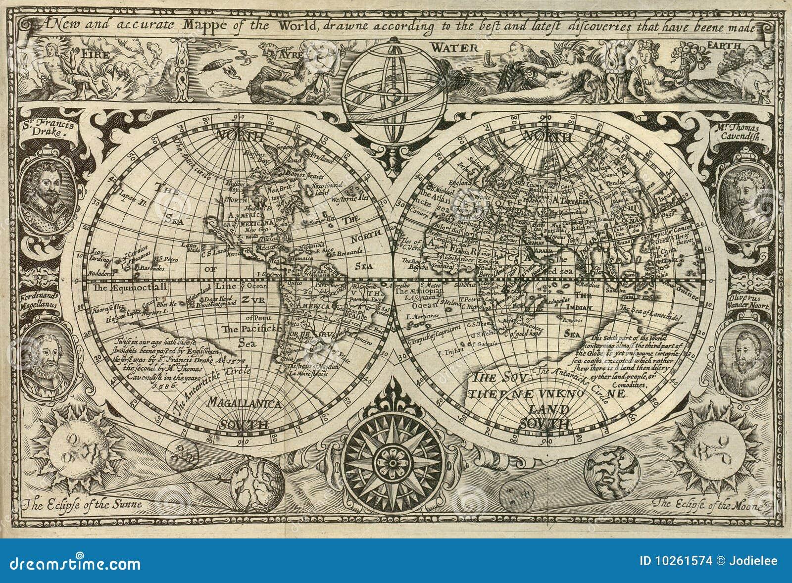 Antieke wereldkaart
