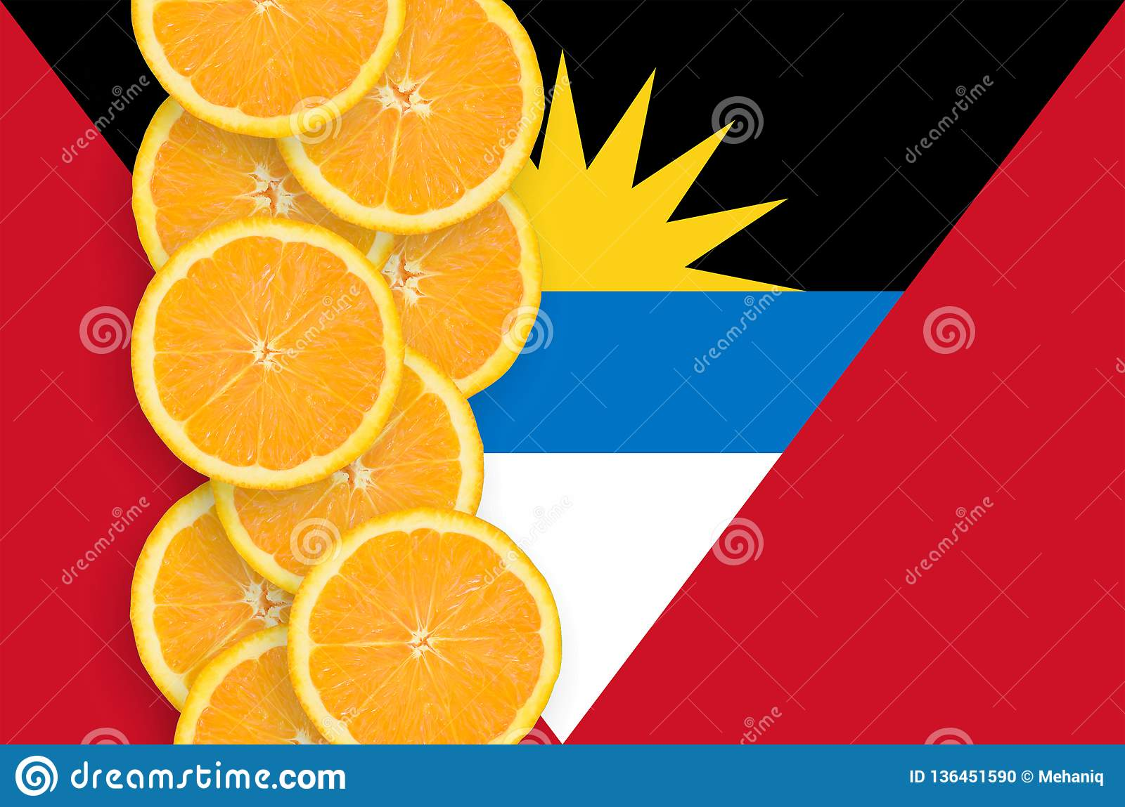 Antigua and Barbuda flag and citrus fruit slices vertical row