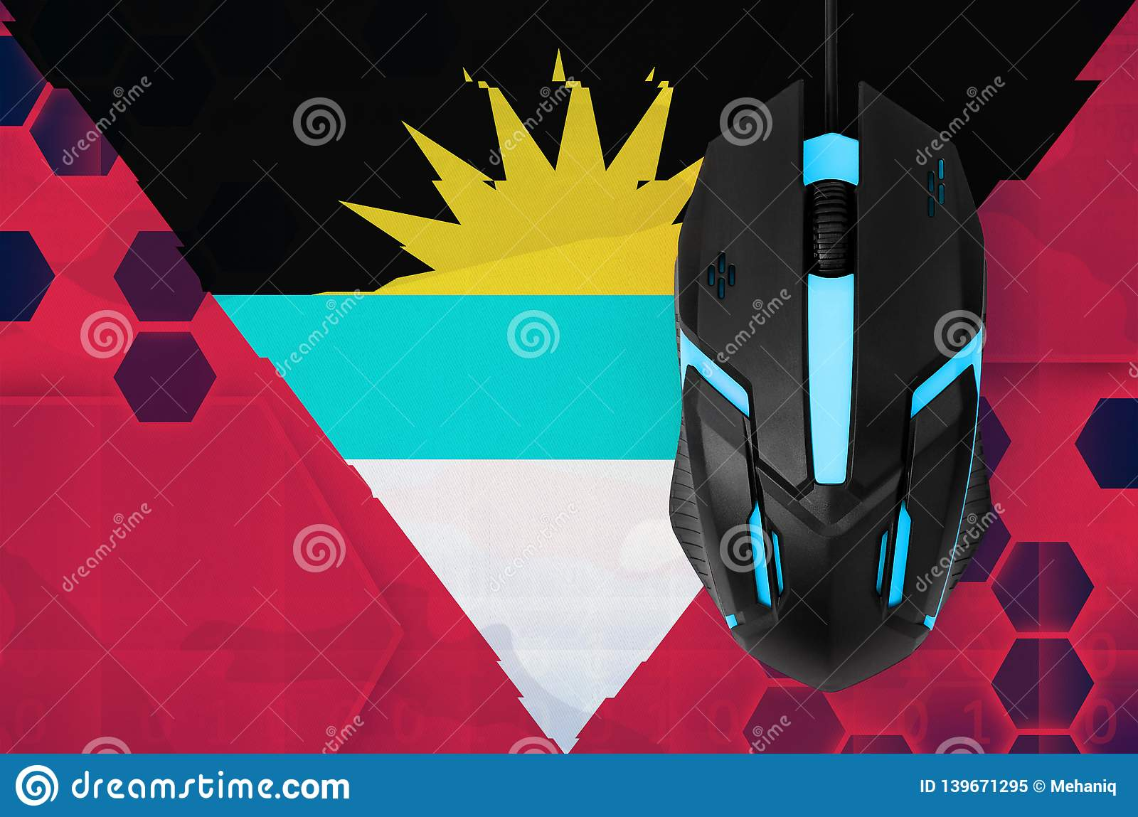Antigua and Barbuda flag and computer mouse. Concept of country representing e-sports team