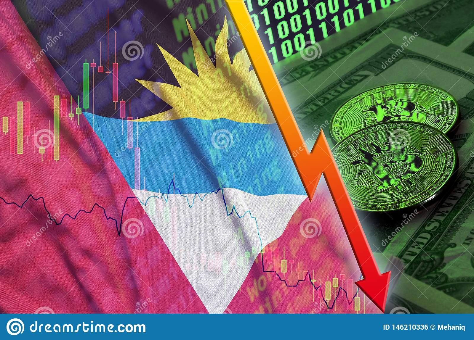 Antigua and Barbuda flag and cryptocurrency falling trend with two bitcoins on dollar bills and binary code display