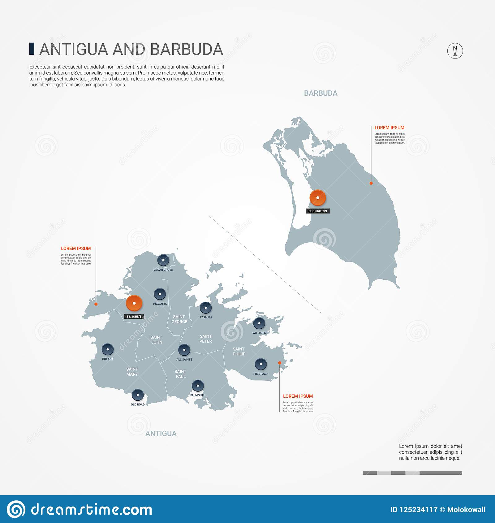 Antigua And Barbuda Infographic Map Vector Illustration. Stock ...