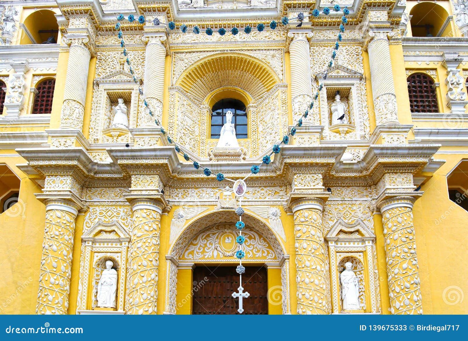 Antigua City, Guatemala. San Jose cathedral at Plaza Mayor square. UNESCO site