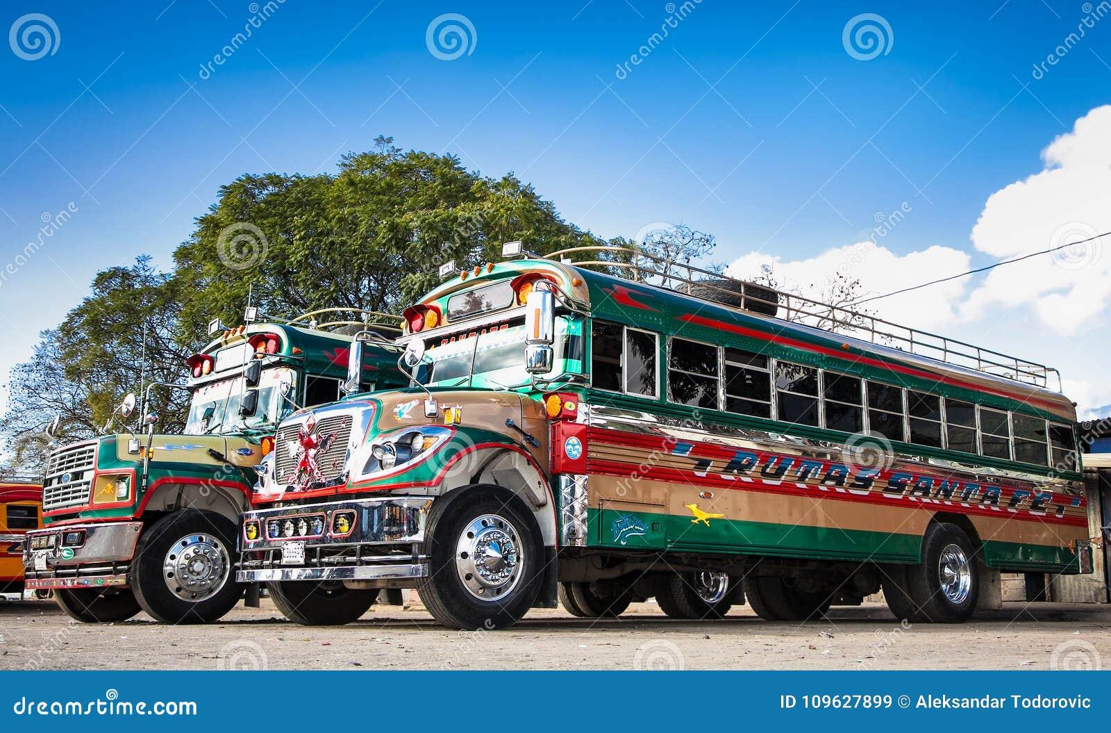 Typical Guatemalan Chicken Bus In Antigua, Guatemala