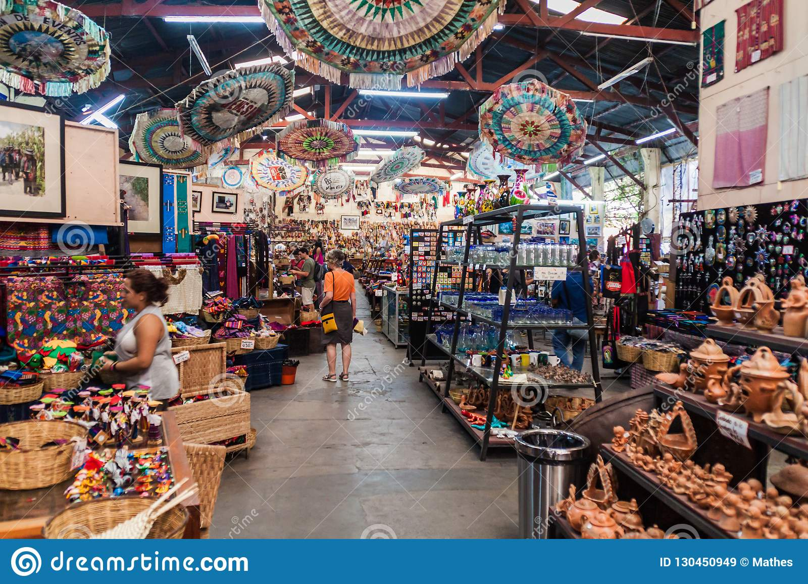 Antigua Guatemala March 26 2016 Interior Of Nim Pot Textiles