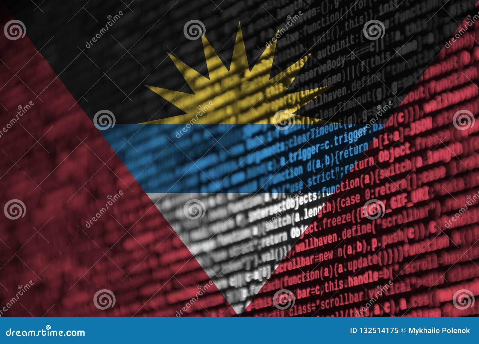 Antigua i Barbuda flaga przedstawia na ekranie z programa kodem Pojęcie nowożytny technologii i miejsca rozwój
